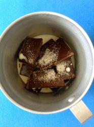 1 derretir chocolate con leche y azucar