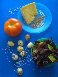 ensalada con huevos de codorniz y parmesano ingr
