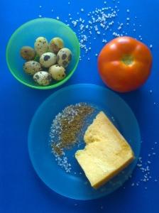 ensalada de tomate con huevos de codorniz y parmesano ingr