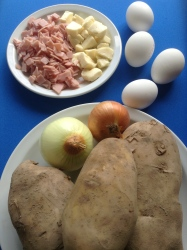 tortilla de patata rellena de jamón y queso ingr