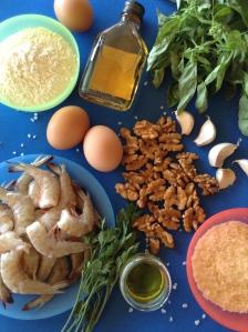 pasta fresca de gambas al ajillo y salsa pesto de nueces ingr
