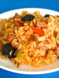 arroz con verduras y chorizoo