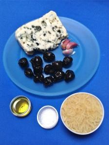 risotto de roquefort y aceitunas negras ingr