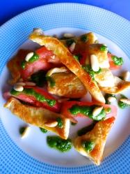 pollo con salsa pestoo
