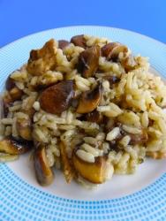 arroz con pollo y champiñoness