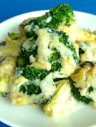 gratinado de brocoli setas y maizz