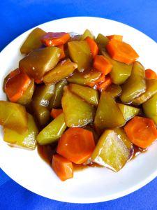 sayote y zanahora con salsa de soja