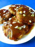 banana blossom patties with ginger saucee